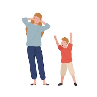 피곤된 어머니 흰색 절연 비명 아들 근처 머리를 들고. 여성은 모성 벡터 평면 삽화 동안 스트레스와 두통을 가지고 있습니다. 부모와 자녀의 관계.