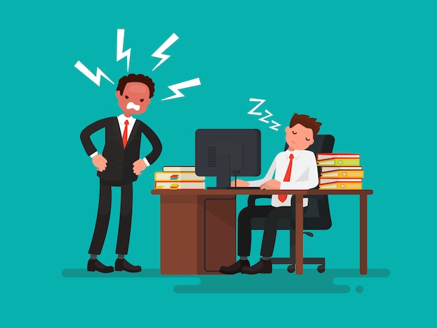 Tired office worker asleep at a desk next to it is an angry boss illustration