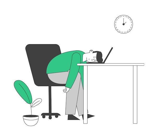 ノートパソコンに横たわって疲れているまたは退屈なビジネスマン