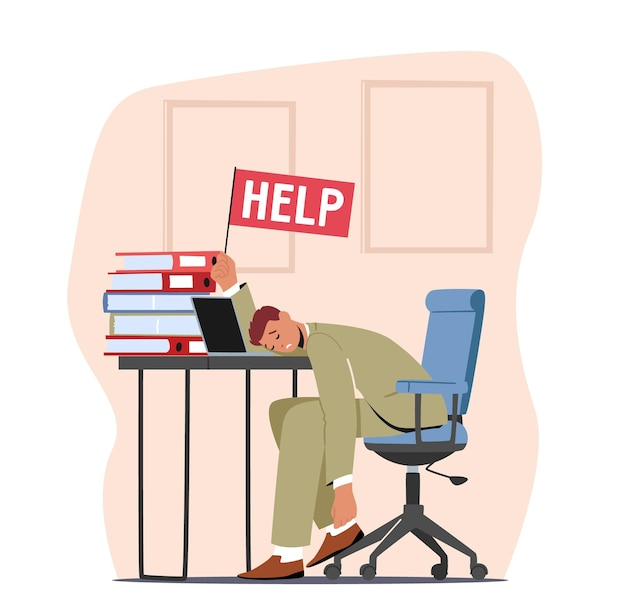 Tired overload businessman lying on office desk with help flag in hand and heaps of documents. overwork, burnout