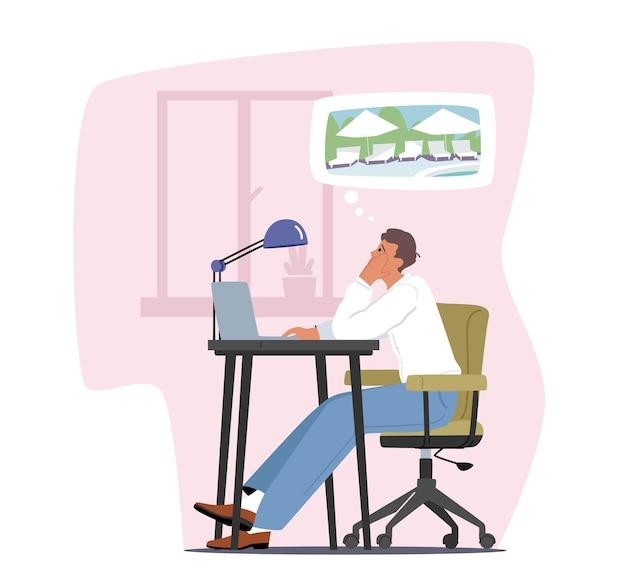 疲れた過労ビジネスマンのキャラクター感情的でプロフェッショナルな燃え尽き症候群。夏休みを夢見てオフィスでコンピューターを使用して職場に座っている勤勉なビジネスマン。漫画のベクトル図