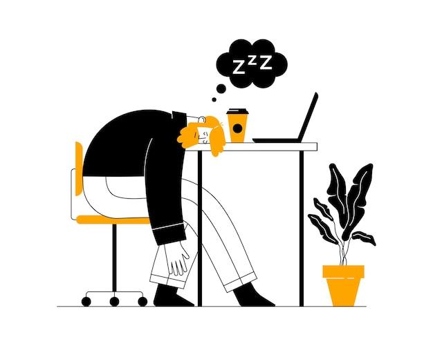 Усталый перегруженный работой менеджер спит с опущенной головой на ноутбуке