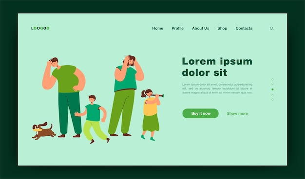 Tired parents looking at happy children landing page template