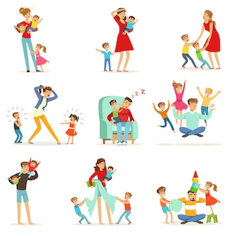 Tired parents and their children set, parenting stress  illustration