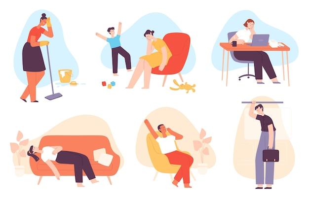 피곤한 사람들. 불안과 스트레스로 지친 남녀. 우울한 어머니, 지루한 회사원, 졸리고 지친 사람 벡터 세트. 아이와 노는 캐릭터, 바닥 세척