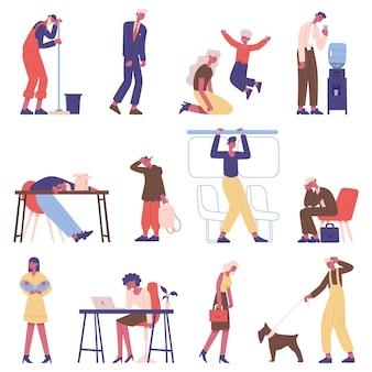 피곤한 사람들. 졸린 지친 남성과 여성 캐릭터, 지친 직장인, 학생 및 부모 벡터 일러스트레이션 세트. 우울한 피곤한 사람들
