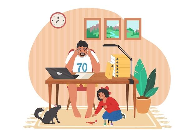 いたずらな子供が彼の仕事をするのを妨げている間、疲れてストレスを感じたお父さんがコンピューターで働いている、平らなベクトル図。在宅勤務、フリーランス。親のストレス、子育て時の子育ての問題。