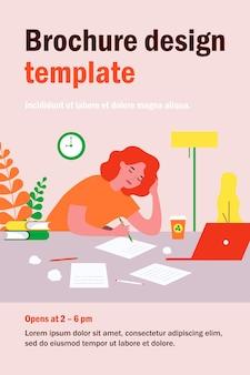 Усталый студент девушка учится в ночное время. писатель, рукописный текст, документы, компьютер, кофе плоской иллюстрации. срок, концепция управления временем