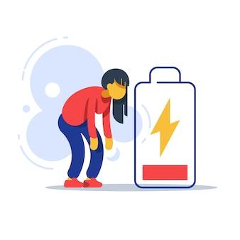 Утомленная женщина и батарея низкой энергии