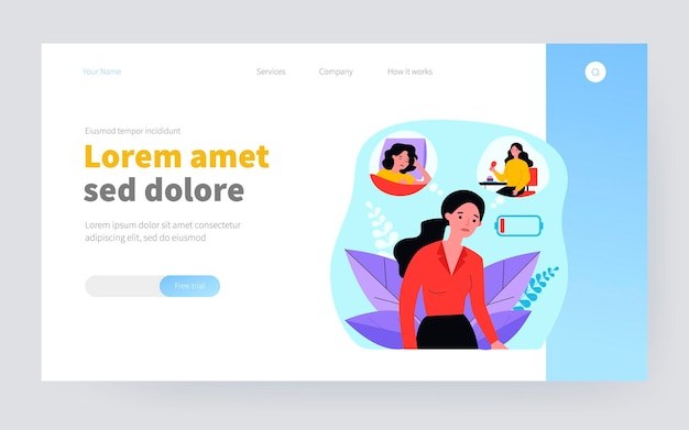 Tired woman feeling low lying level. out of battery, bad eating and sleeping flat vector illustration. burnout, unhealthy lifestyle, fatigue concept for banner, website design or landing web page