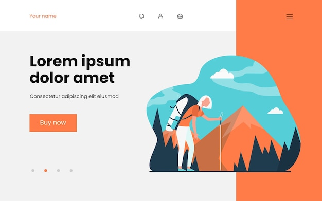 Tired woman hiking in mountains landing page template