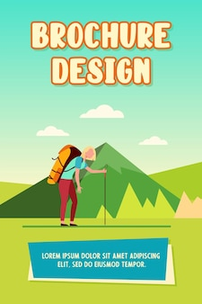 Tired woman hiking in mountains. trekking, heavy backpack, active tourist flat vector illustration