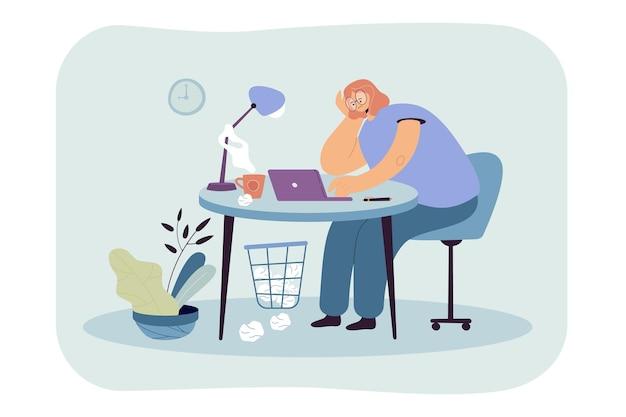 仕事フラットイラストのテーブルに座っている疲れた女性