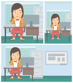 Tired woman sitting in office