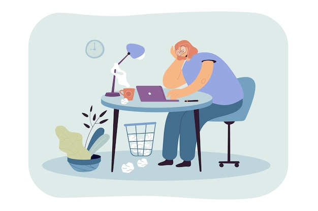 Tired woman sitting at table on work flat illustration