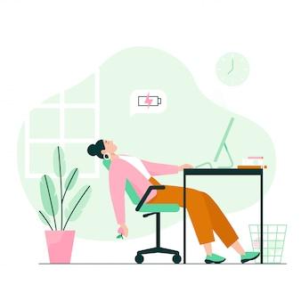 책상에서 자 고 피곤 된 여자입니다. 작업 소진, 직장에서의 낮은 에너지. 평면 그림.