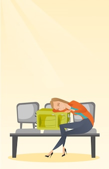 Tired woman sleeping on suitcase at the airport.