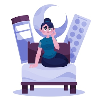 Усталая женщина пытается заснуть