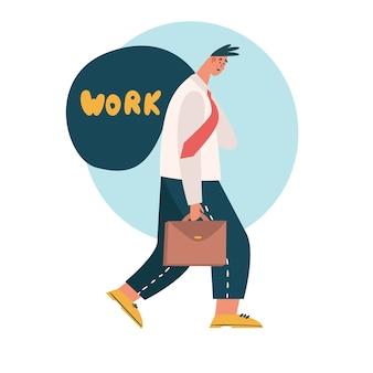 Усталый работник уходит из офиса и приносит домой работу. усталый, измученный сотрудник, имеющий дело с чрезмерно требовательным начальником. нереалистичные ожидания, крайний срок, стрессовое расстройство на работе.