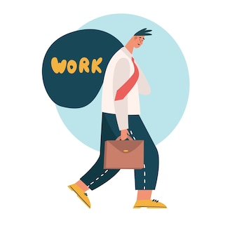 Tired worker goes away from office and brings work home. tired, exhausted employee dealing with overly demanding boss. unrealistic expectations, deadline, stress disorder at work concept.