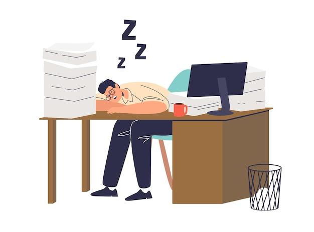 Усталый работник, спящий за офисным столом