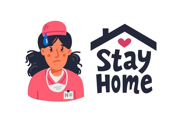 Усталая молодая медсестра в розовых халатах и знак оставаться дома