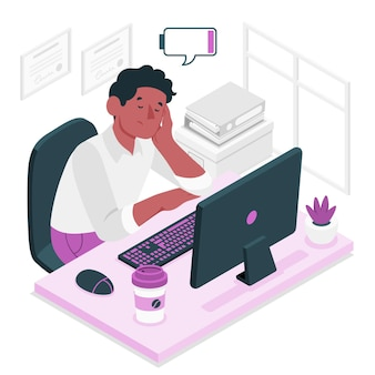 Illustrazione di concetto di stanchezza