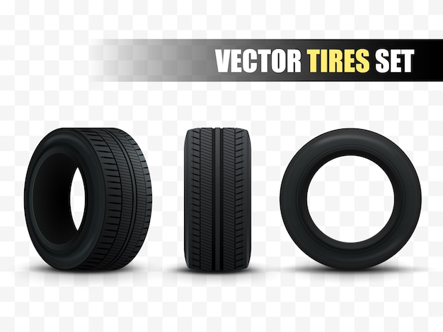 Tires set. 3d realistic car tires isolated on white.