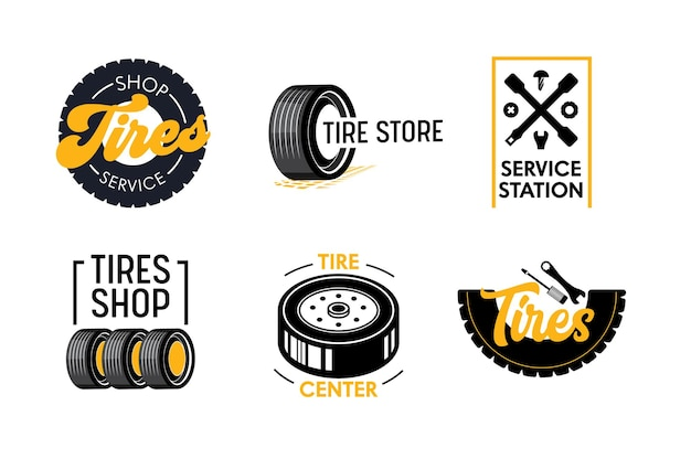 Tires shop and services logo set.