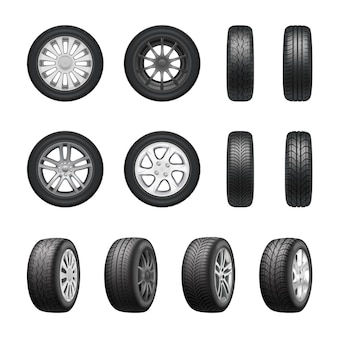 Tires wheels realistic set