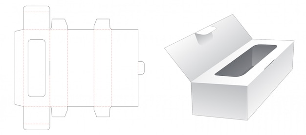 Tissue box with flip die cut template design