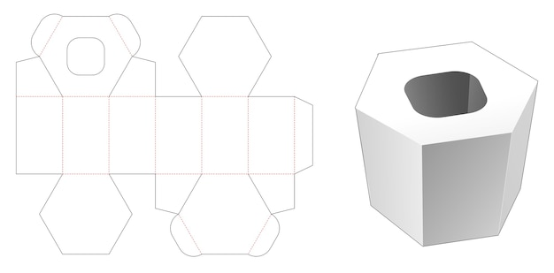 Tissue hexagonal box die cut template