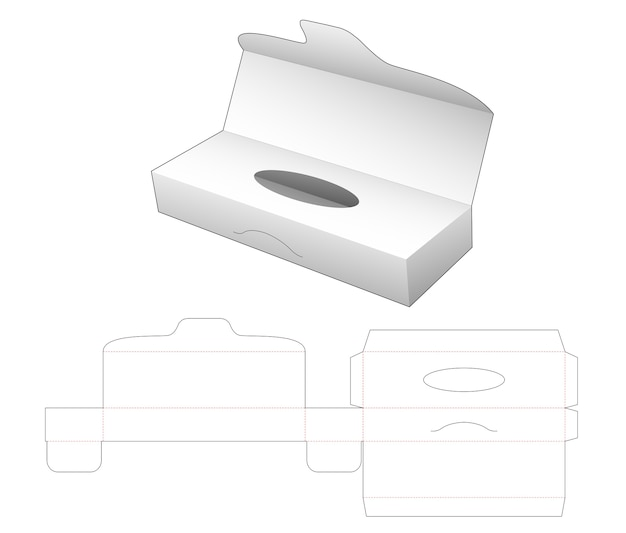 Tissue long box with flip cover die cut template