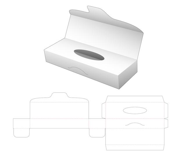 フリップカバーダイカットテンプレート付きティッシュロングボックス