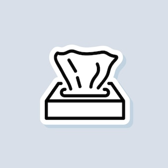 Tissue paper box sticker. napkin icon. wipes icons. vector on isolated background. eps 10.