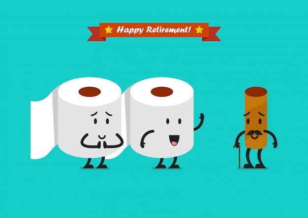 Tissue paper characters with happy retirement concept