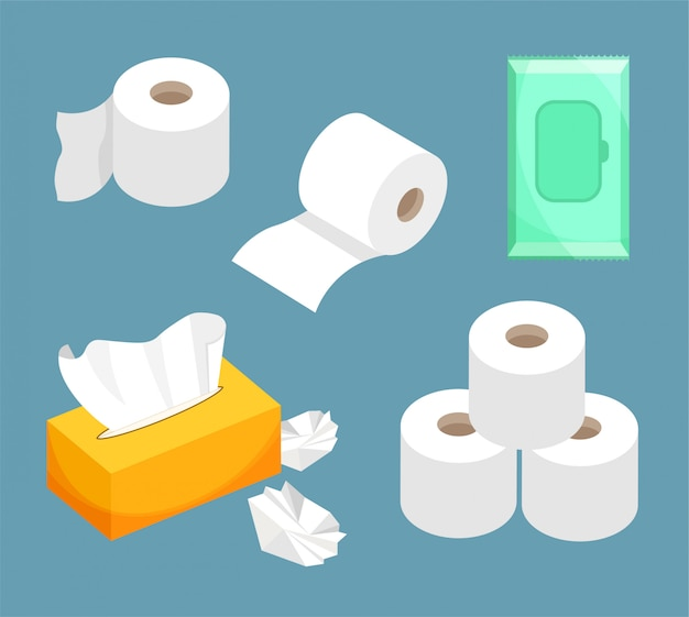 Tissue paper set, wet wipes, toilet paper roll. use for toilet, bathroom, kitchen.