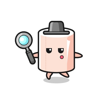 Tissue roll cartoon character searching with a magnifying glass , cute design