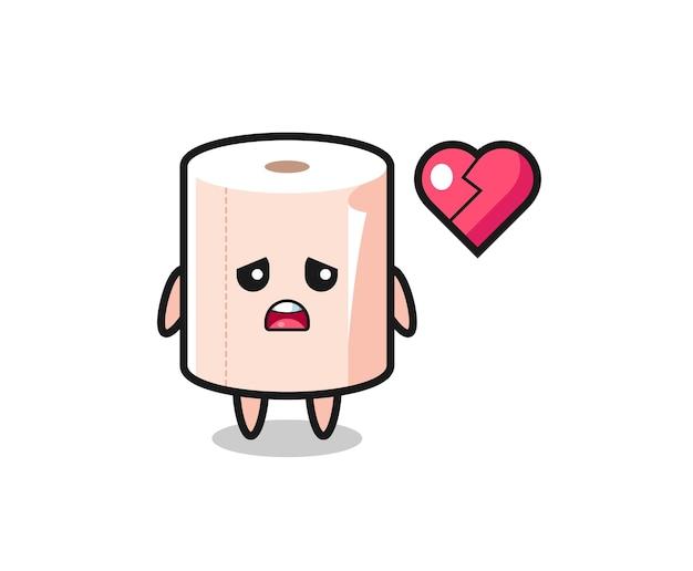 Tissue roll cartoon illustration is broken heart , cute design