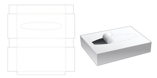 Tissue tin box die cut template