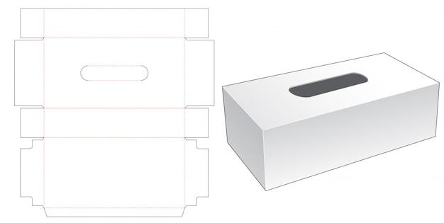 Tissues long box die cut template