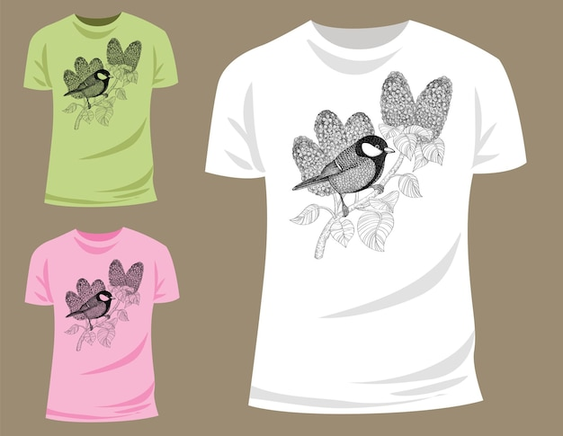 Tit on branch of lilac shirt graphics
