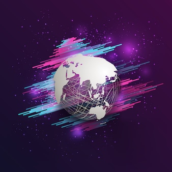 Title  abstract white world map on mesh sphere with glitter on gradient pink purple background.