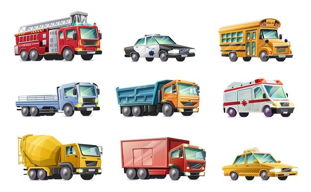 자동차 소방대, 경찰차, 스쿨 버스, 트럭, 구급차, 콘크리트 믹서, 택시의 제목 만화 스타일 컬렉션. 외딴
