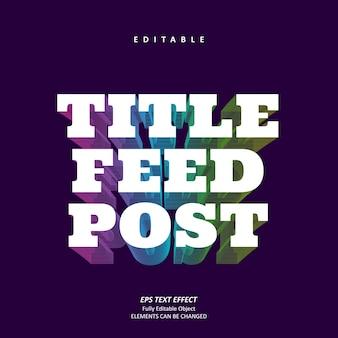 Title feed post neon electro text effect editable premium premium vector