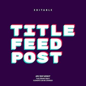 Title feed post social media glitch text effect editable premium premium vector