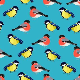Titmouse bird and bullfinch  seamless pattern