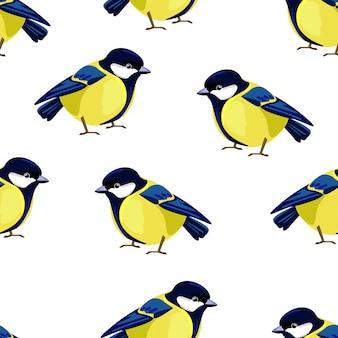Titmouse bird seamless pattern