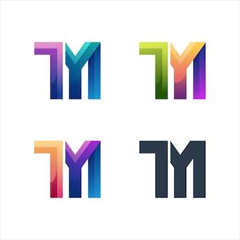 Tm letter logo initial colorful illustration gradient Premium Vector