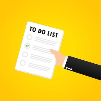 할 일 목록 배너와 할 일 목록 또는 월 계획을 들고 있습니다. 조직. 벡터